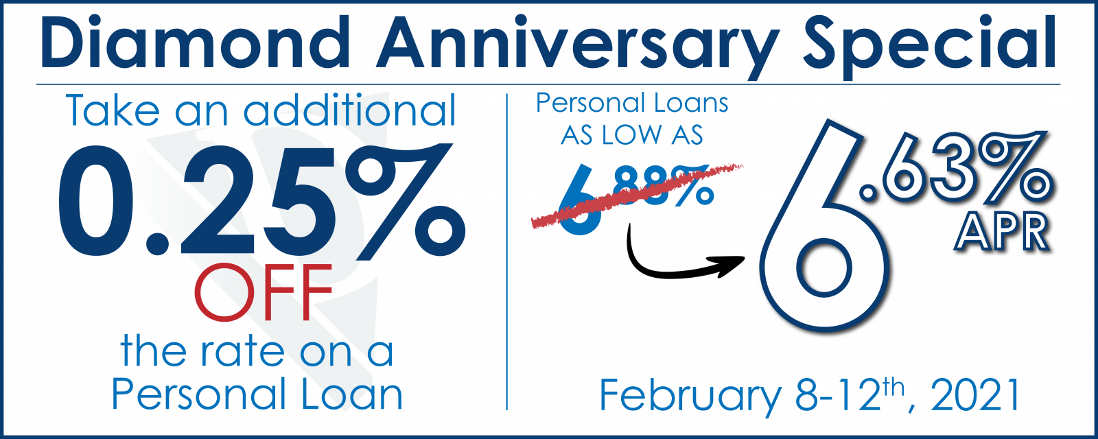 Get a 0.25% DISCOUNT on a Personal Loan from Diamond Valley! This week only!