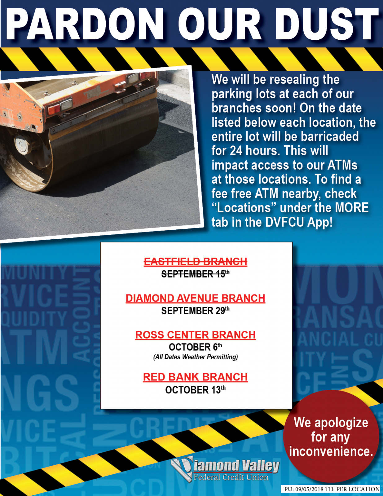 Parking Loat Resealing Taking Place In September and October At All DVFCU Branches