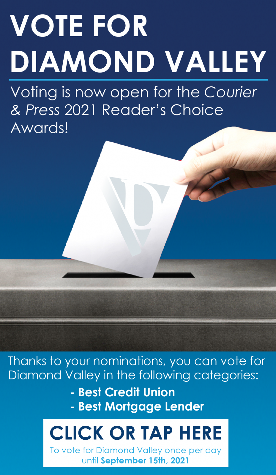 Vote for Diamond Valley in the 2021 Courier and Press Reader's Choice Awards