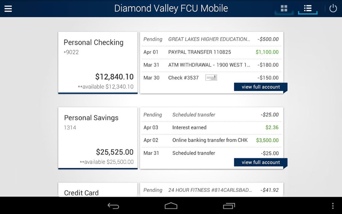 DVFCU App for Android Tablet